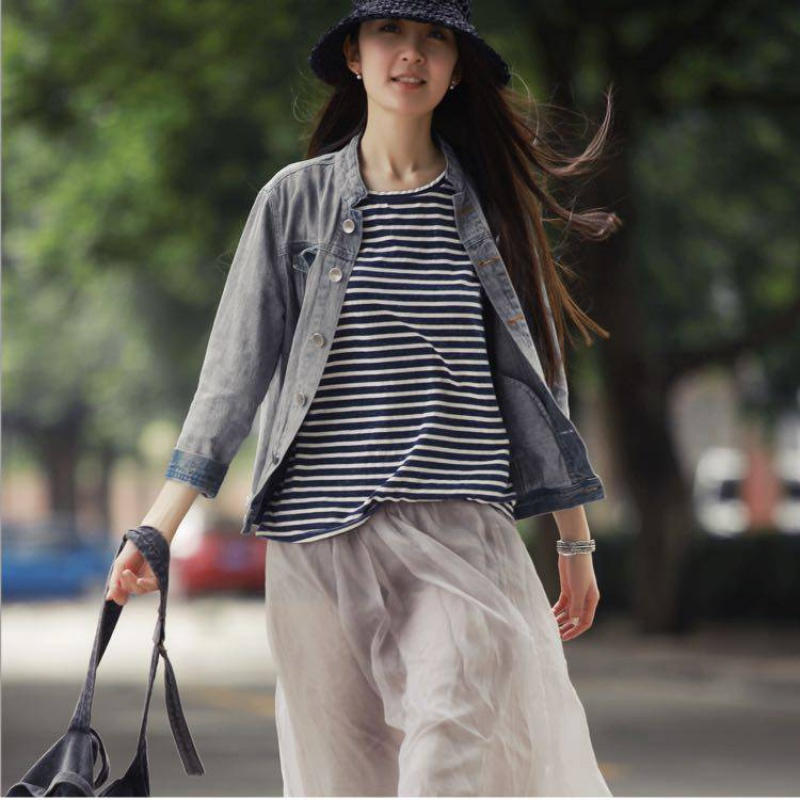 Baise summer new blue and white stripe T-shirt loose cool thin short sleeve leisure Womens Vest suspender