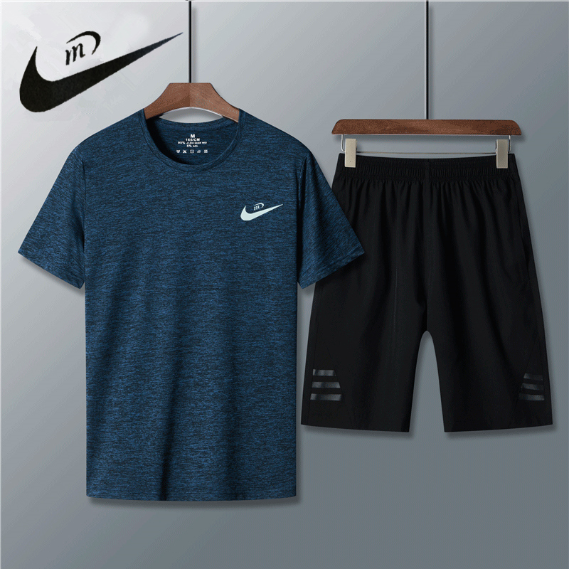 Sports and leisure suit mens summer running fast dry short sleeve sportswear loose clothes Work Shorts basketball pants