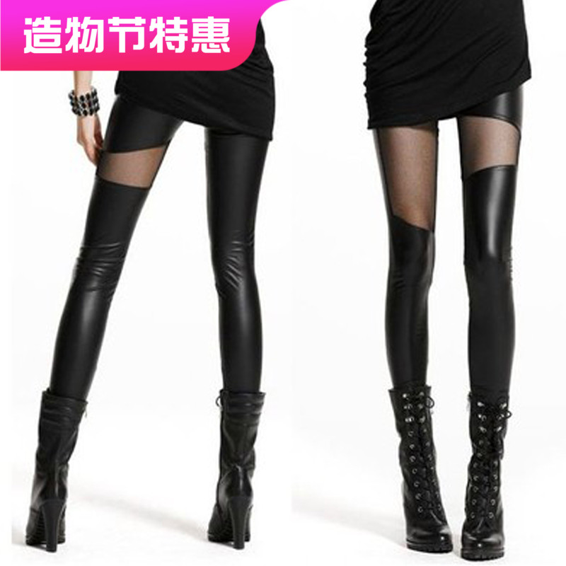 Autumn and winter thickened womens pants imitation leather splicing mesh Leggings show thin Pu leggings and plush spring leather pants splicing pants