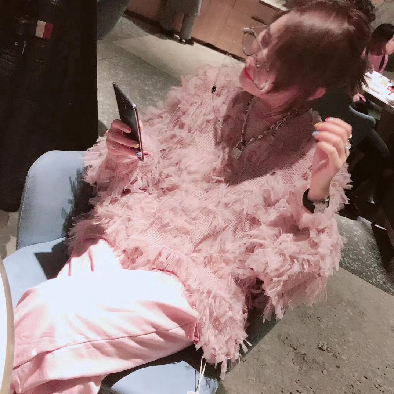 UI优爱秋冬新品超美仙女气质款甜美网纱蕾丝菲边长袖流苏上衣外套
