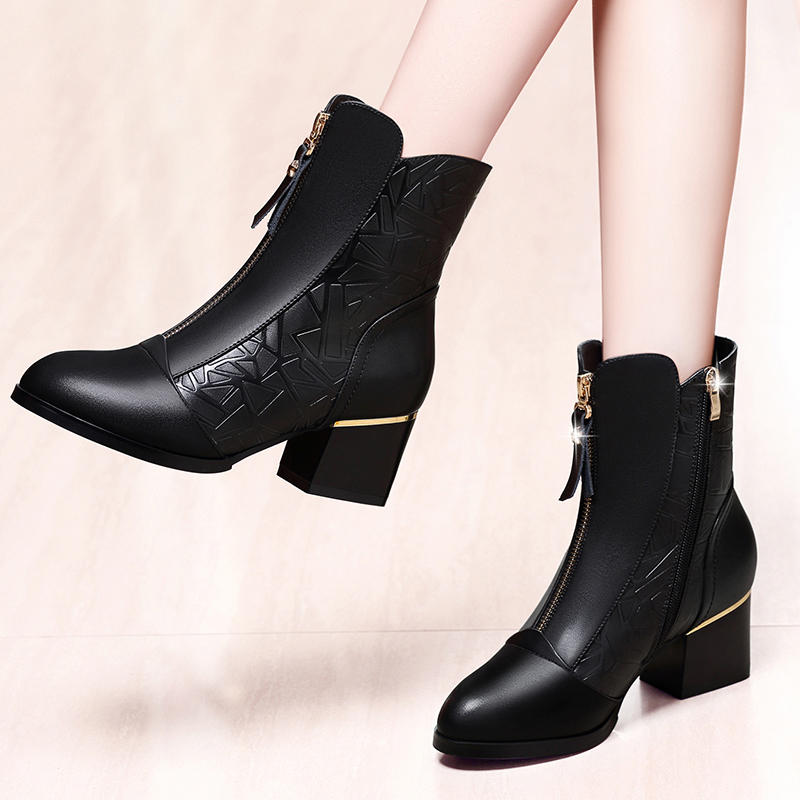 Autumn and winter 2020 new womens shoes single boot leather high heel short boots womens thick heel Martin boots middle heel shoes middle tube boots