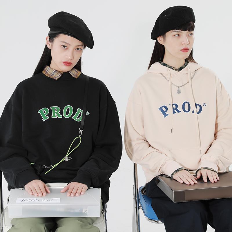 PROD独立设计 秋潮牌复古美式卫衣女套头宽松BF风连帽情侣装外套