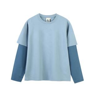 PROD自制 春秋學院風假兩件長袖T恤女寬鬆撞色學生長袖打底衫上衣