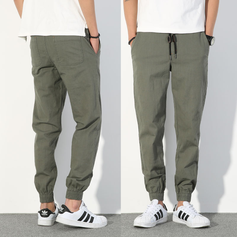 Linen pants mens loose small foot thin cotton and linen sports Leggings mens army green tapered casual pants slim Japanese style