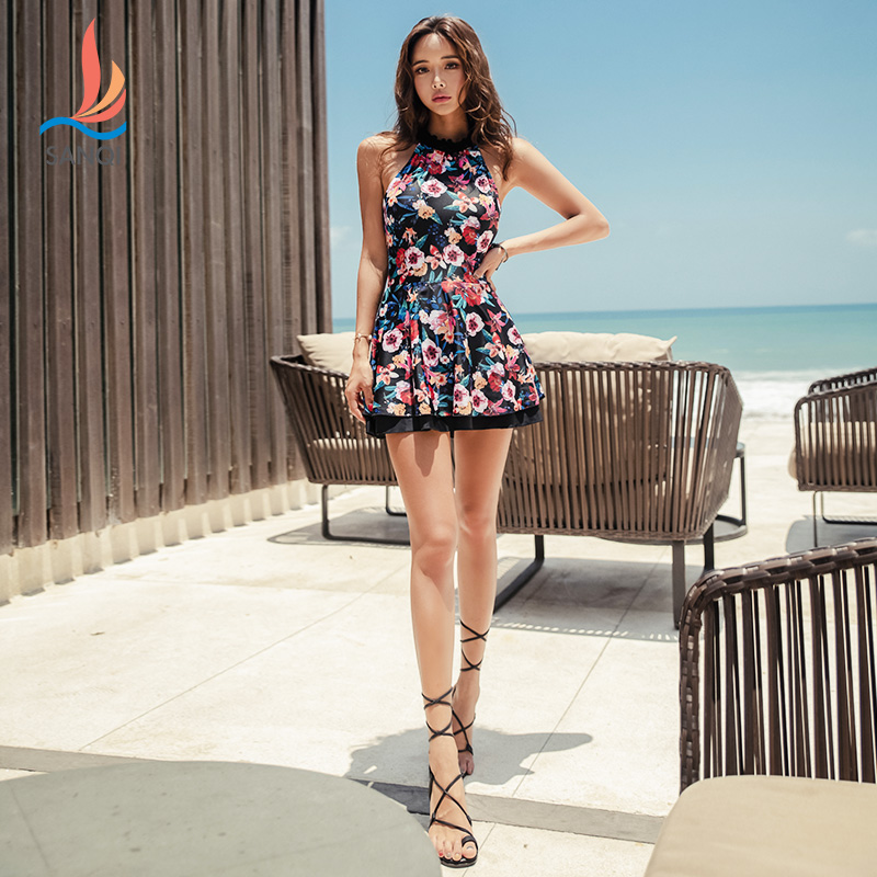 Suit and color swimsuit womens open back one-piece skirt Style Sexy and thin clothes for bathing in hot spring big conservative swimsuit