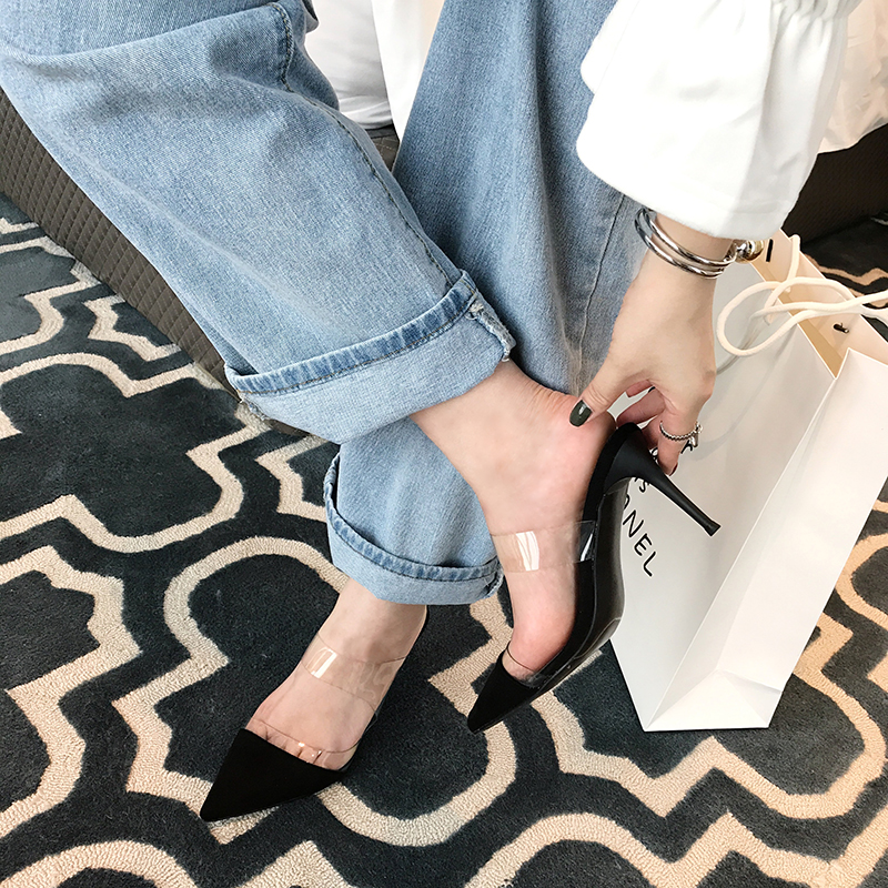 Autumn and winter new pointed high-heeled sandals transparent belt suede Korean temperament versatile celebrity banquet simple lady fashion