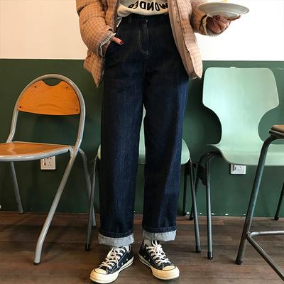 2019新款女装秋装大码牛仔裤宽松高腰直筒胖妹妹阔腿女裤子显瘦潮