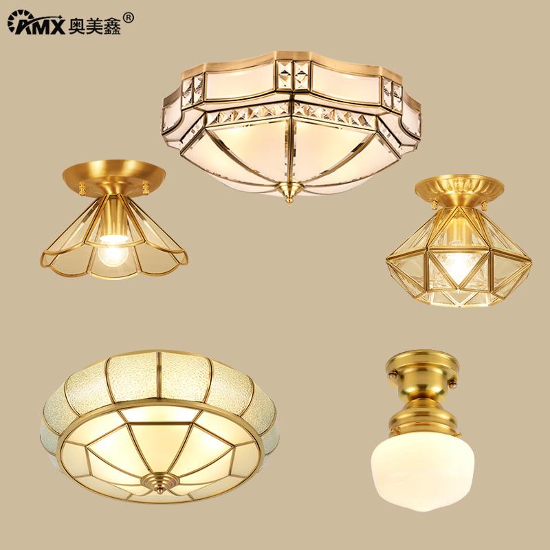 全铜美式吸顶灯创意玄关走廊过道阳台主卧室餐厅田园纯铜圆形灯具