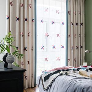 儿童窗帘男孩卧室遮光女孩房间罗马卡通飘窗全加厚儿童房布料男童