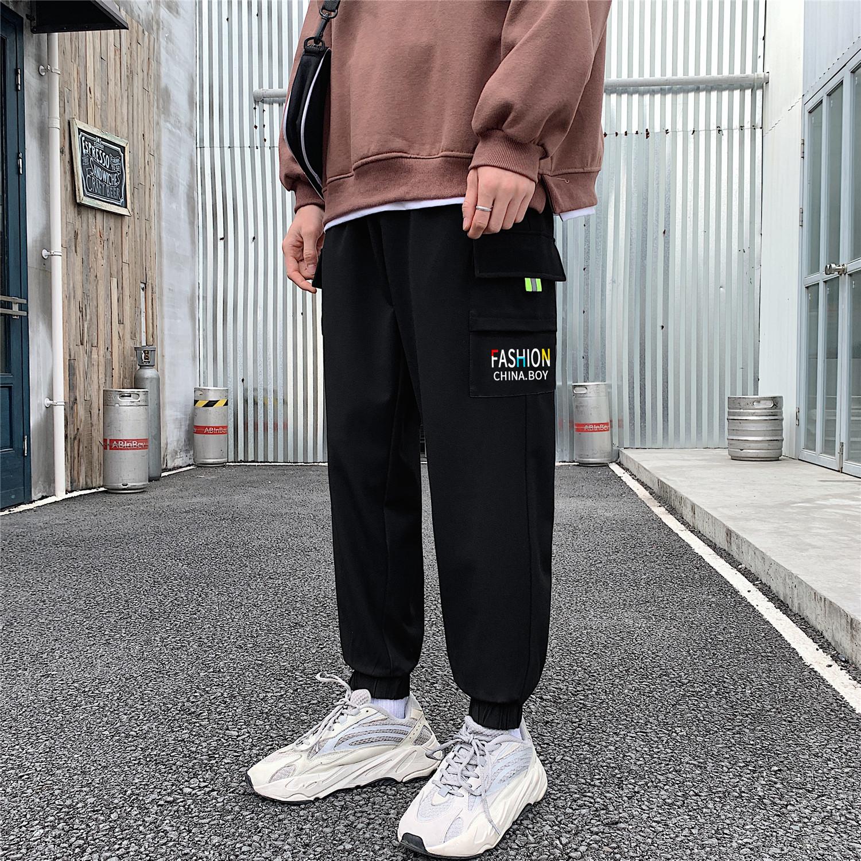 K2006/P45春装新款刺绣韩版宽松大口袋大码束脚裤工装裤休闲裤男