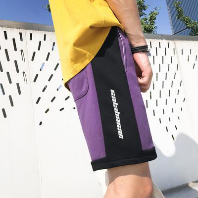 K944/P40 男士运动休闲短裤潮裤宽松反光字母撞色夏天大码沙滩裤