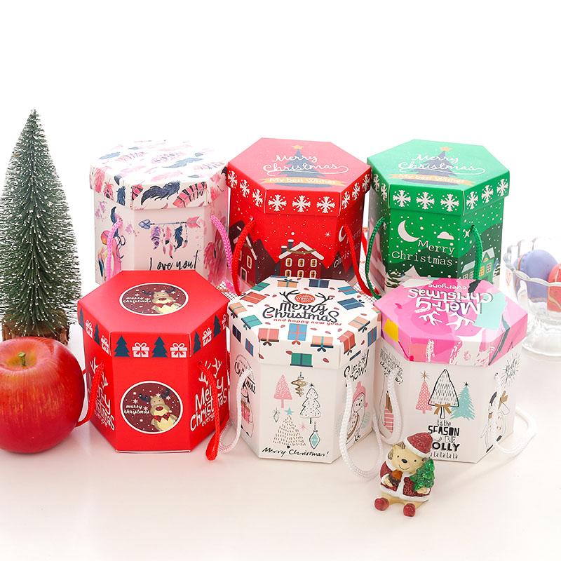 创意可爱圣诞节平安夜六边四边形苹果盒糖果包装喜糖盒子礼盒套装