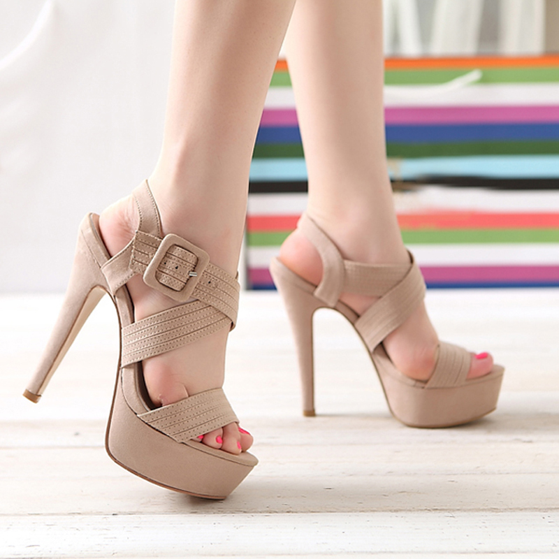 2021 new spring and summer suede thick heel 11cm womens shoes fish mouth super high heel waterproof platform nude 14cm sandals womens shoes