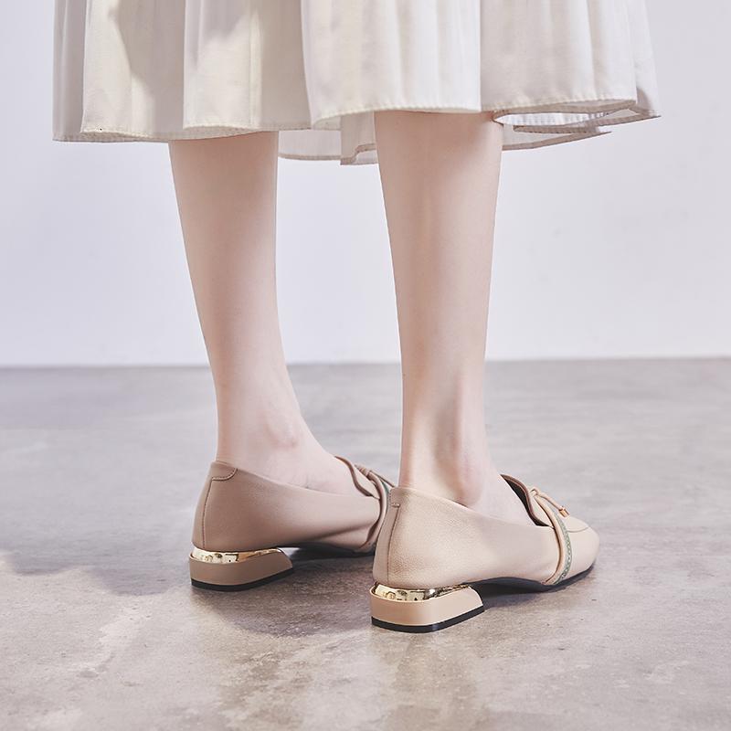 浅口粗跟单鞋女2019夏款百搭低跟软皮黑色英伦小皮鞋女中跟乐福鞋