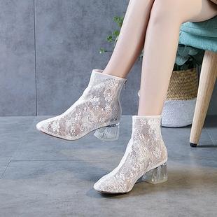 短筒裸靴中跟汉服单鞋 二次元 网纱短靴女粗跟透气蕾丝凉鞋 春夏新款