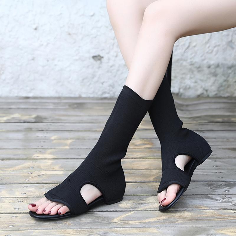 平底针织长靴女夏新款百搭中筒靴子