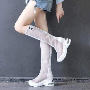 夏季网纱透气高筒靴百搭厚底凉鞋