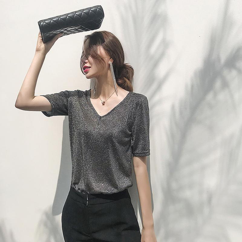JULY法式高贵银色宽松V领上衣女2020春夏新款短袖气质百搭舒适T恤