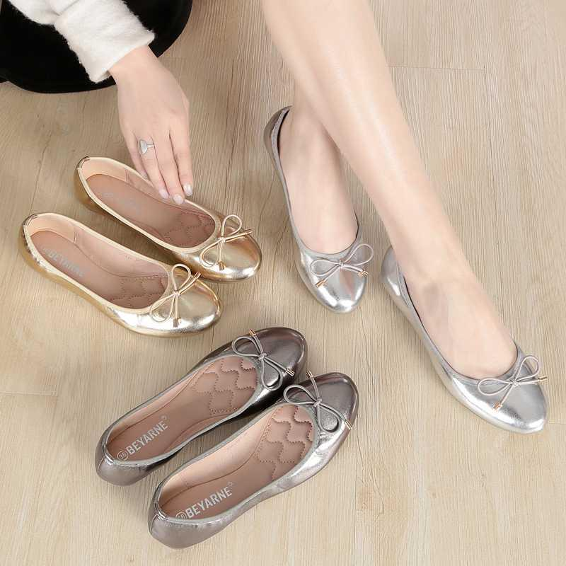 2020 summer silver flat shoes womens round head single shoes womens shoes all kinds of soft bottom bow boat shoes Ladybug shoes bean shoes