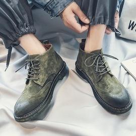 马丁靴男中高帮鞋秋季新款英伦风复古工装鞋潮流百搭真皮短靴子潮图片