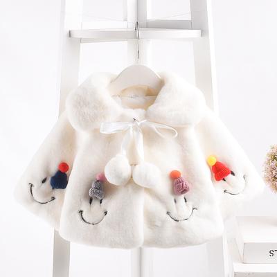 婴儿秋冬装外套披风外出保暖公主洋气仿皮草女宝宝童装新生儿棉衣
