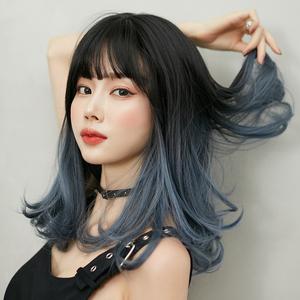 假发女中长发渐变雾霾蓝气质空气刘海修脸自然梨花头齐肩全头套