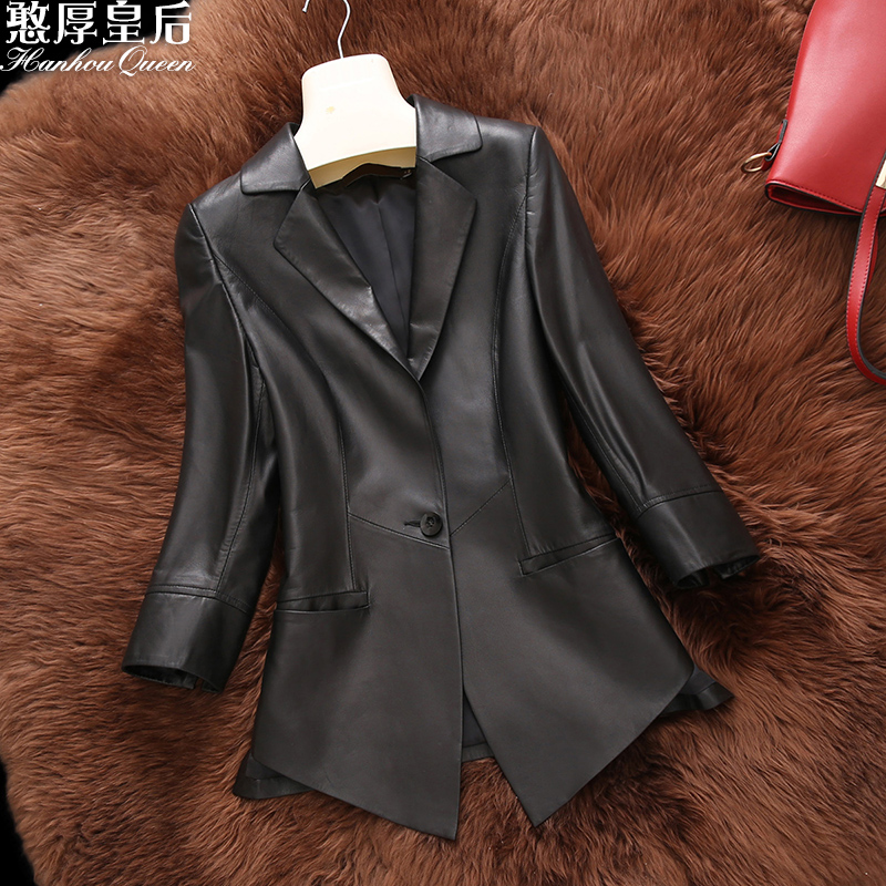 Honest and honest queen Haining leather leather women new style sheep skin slim fit fashion suit coat in spring 2020 w