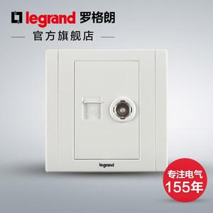 罗格朗开关插座面板美涵白色电脑电视网络网线有线TV墙壁电源86型