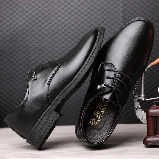 新款春夏季透气男士皮鞋男商务休闲鞋软底软面舒适系带男鞋子