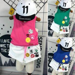 童裝男童背心套裝夏裝1-3-5歲2020新款4寶寶無袖t恤兒童兩件套潮