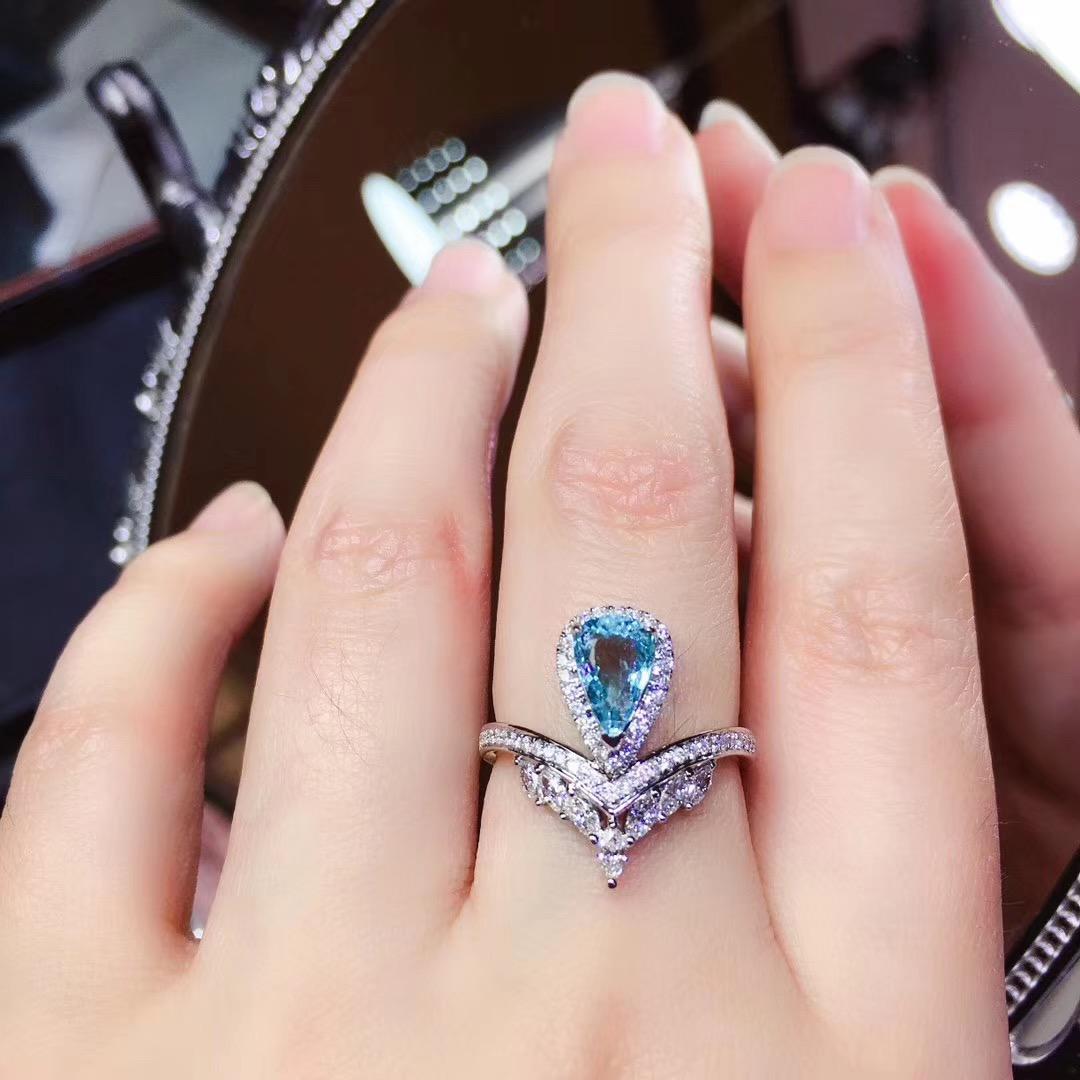 梵克迪珠宝 天然巴西海蓝宝戒指18K金 豪华款镶嵌钻石彩色宝石