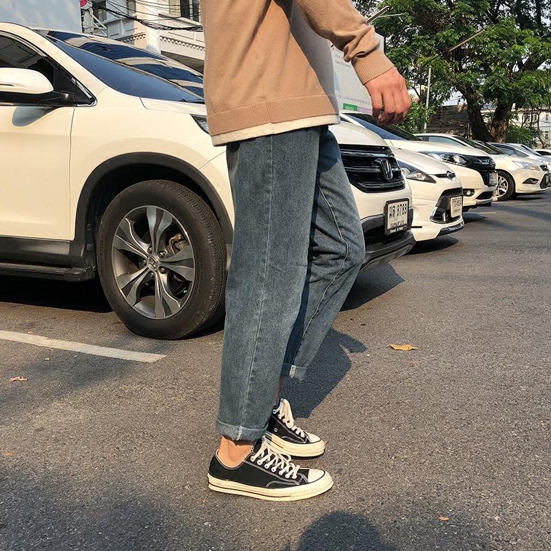 方寸先生秋季男生韩版潮流九分牛仔裤男直筒休闲修身小脚薄款裤子