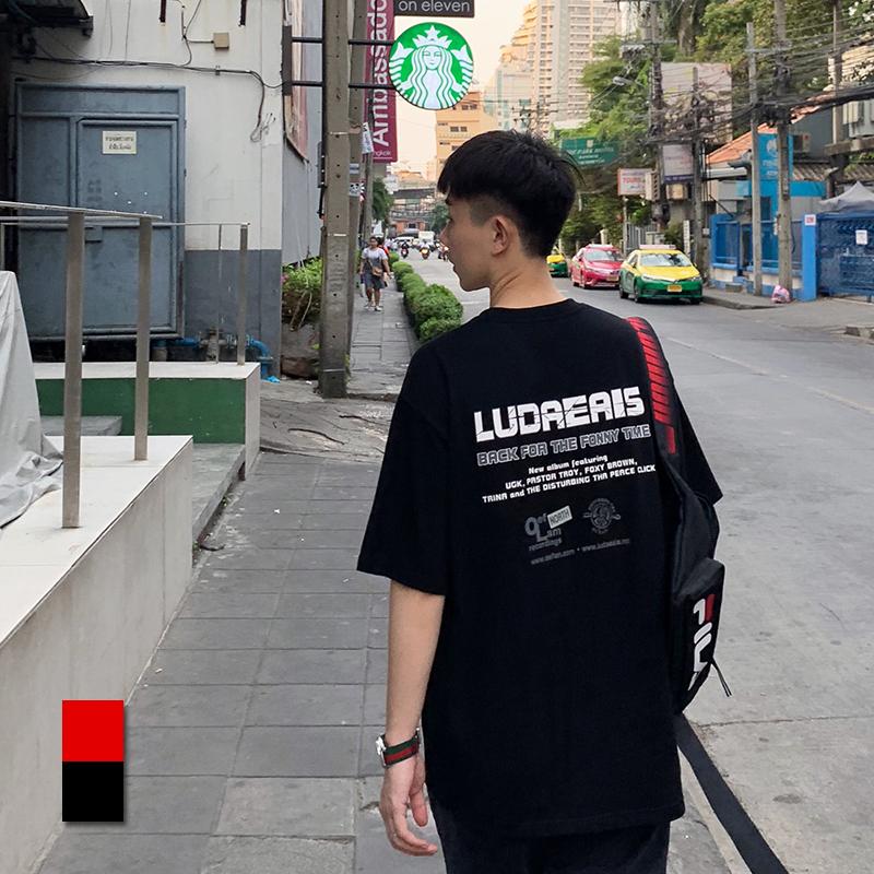 假一赔三方寸先生 2019夏季男士短袖t恤韩版潮流休闲宽松两色情侣印花体恤