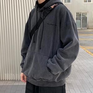 方寸先生连帽卫衣男2021春季新款韩版oversize宽松外套潮上衣男装