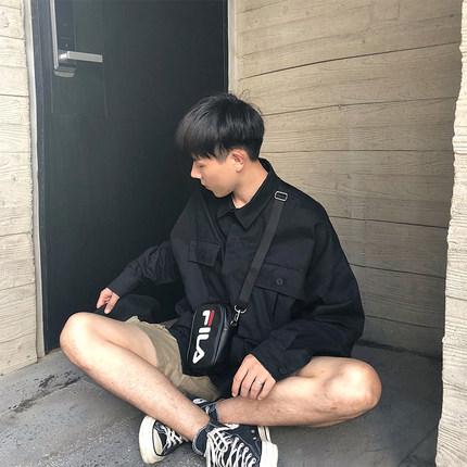 方寸先生工装衬衫男士韩版长袖潮流oversize港风黑色宽松衬衣外套