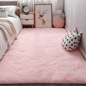 长毛粉色ins地毯卧室床边满铺可爱公主房间网红少女主播拍照地垫