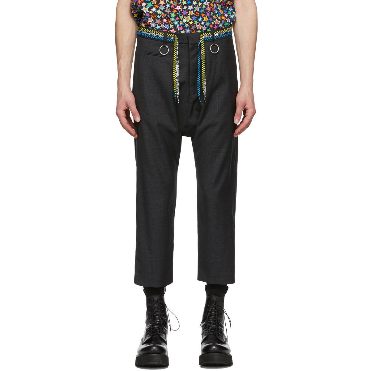 代购R13 灰色 Shoelace Belt 羊毛长裤2021新款奢侈品运动裤舒适