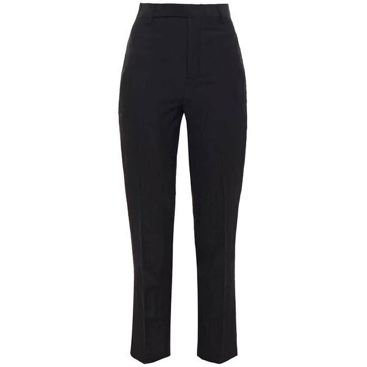 代购Rick Owens 羊毛铜氨纤维混纺绉纱锥形长裤女2021新款奢侈品