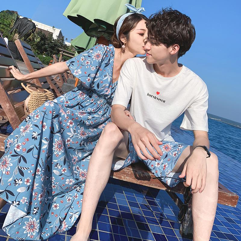 情侣装夏装适合去旅游拍照穿的衣服大码海边度假沙滩裙子男装套装手慢无