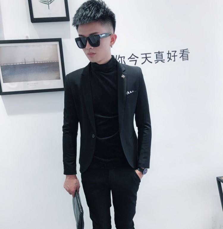 小码2019新款秋冬紧身短款小西装韩版修身外套青年潮流男士西服单