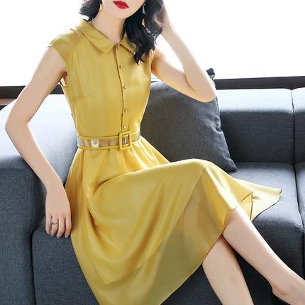 a字2019夏装新款姜黄色修身衬衫裙收腰大摆显瘦中长款无袖连衣裙