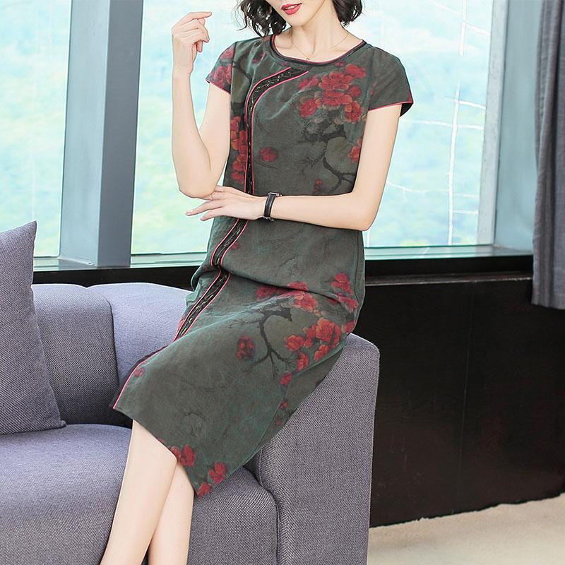 正品保证香云纱重磅真丝连衣裙女2019夏季女装气质中老年妈妈桑蚕丝裙子