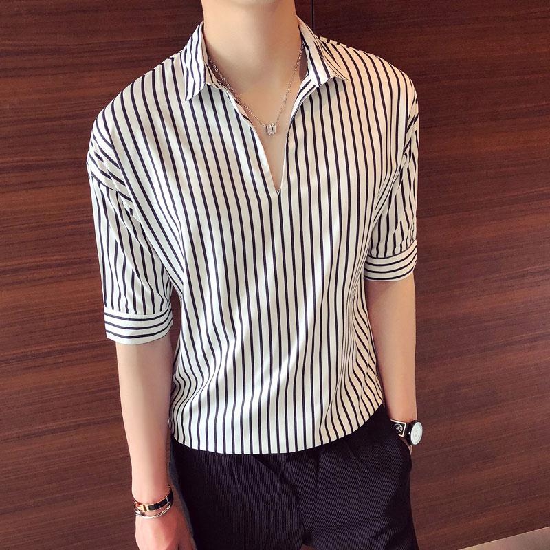 限3000张券夏季男士短袖T恤韩版冰丝宽松5五分袖夏装7七分袖男装半袖潮衣服