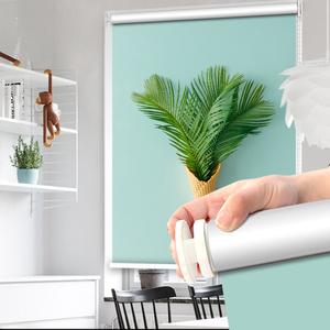 胀紧免打孔安装卷帘窗帘升降全遮光遮阳厨房卫生间浴室防水卷拉式