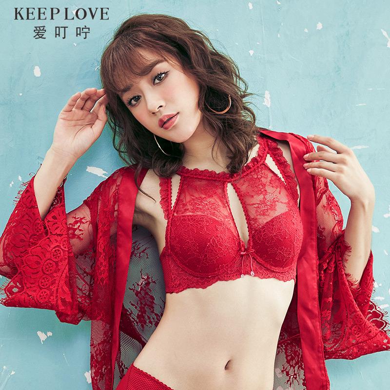 歌瑞尔旗下爱叮咛甜美蕾丝性感聚拢内衣红色本命年女士文胸罩饰闪