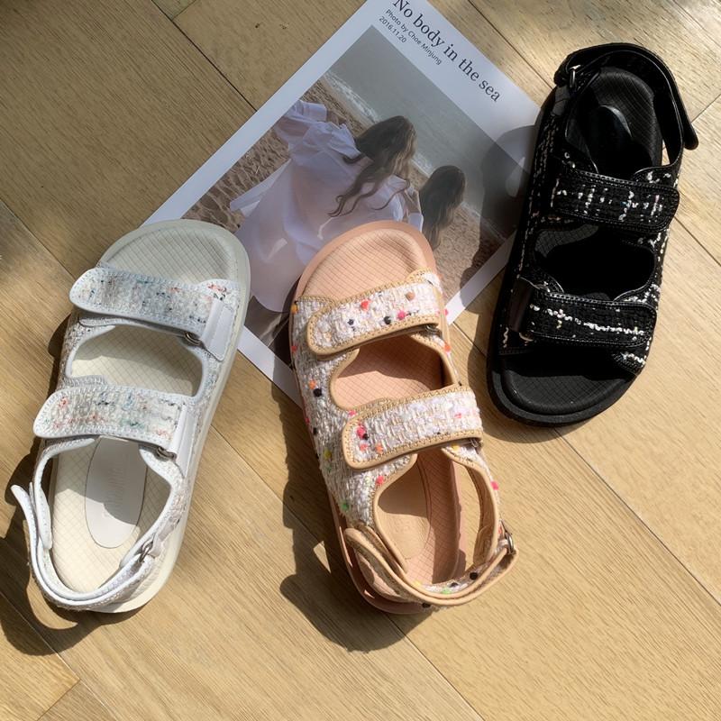 叮当家小香风厚底凉鞋女夏季平底鞋运动风ins潮网红仙女风鞋子