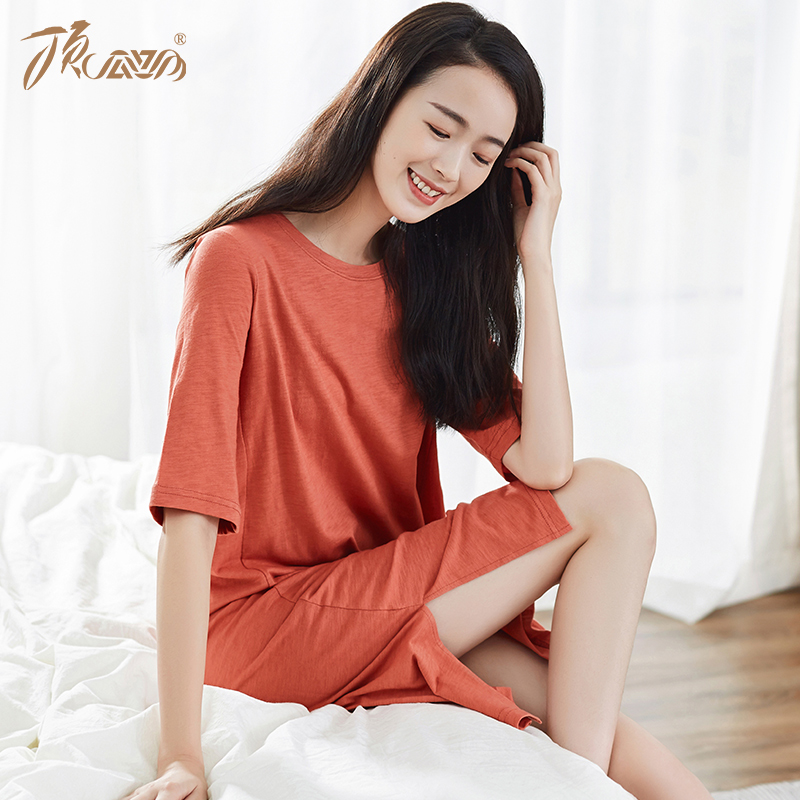 (用230元券)顶瓜瓜官方旗舰夏季宽松短袖长裙