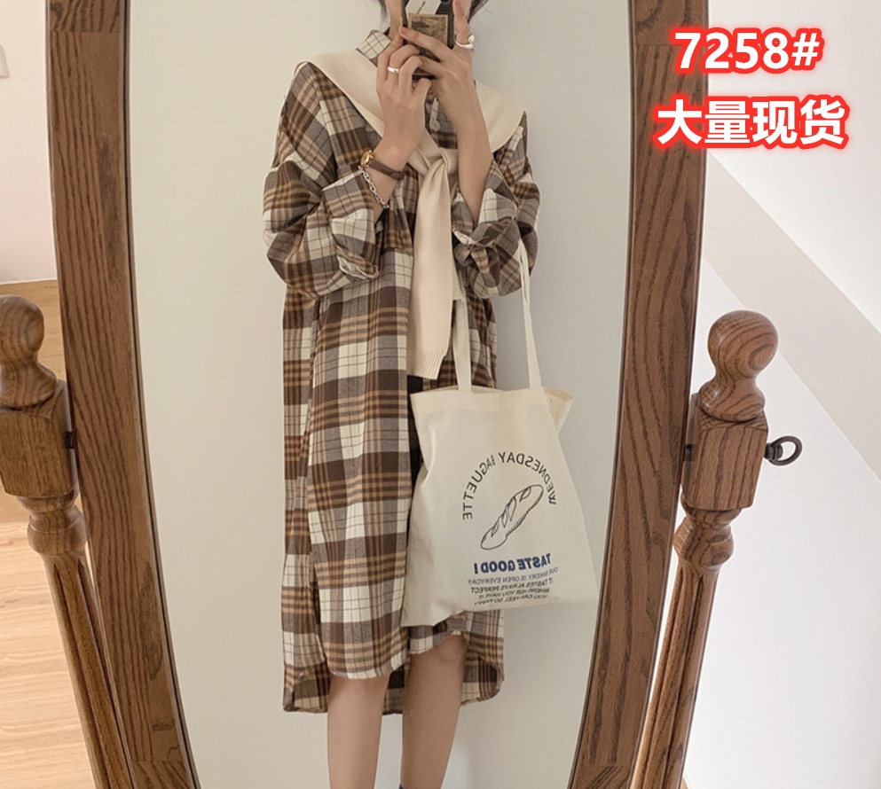 7258#韓國chic秋季百搭復古格紋翻領單排扣襯衫式長袖連衣裙女