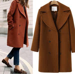 7117#速卖通秋冬欧美大码女装羊毛呢大衣女中长款风衣毛呢外套