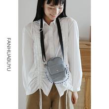 学生单肩布包 梵花不语简约条纹斜挎包女手机小包袋牛仔布ins韩版